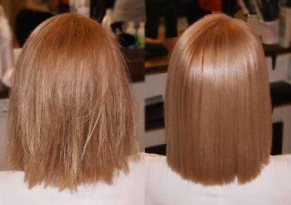 выпрямление волос при помощи масла