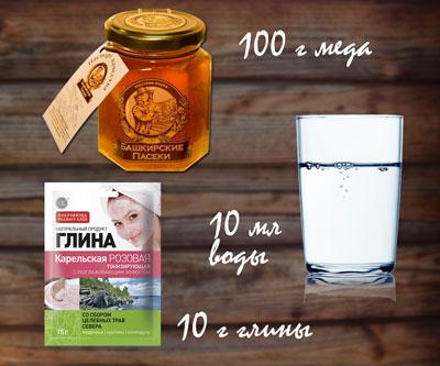 маска с медом и глиной