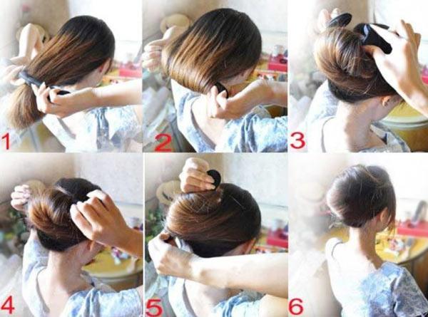 пучок на длинные волосы мк