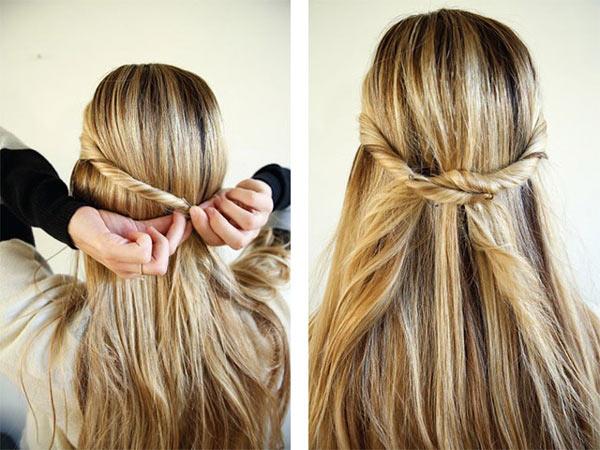 Распущенные волосы с жгутами