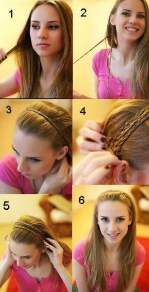Как сделать ободок из кос