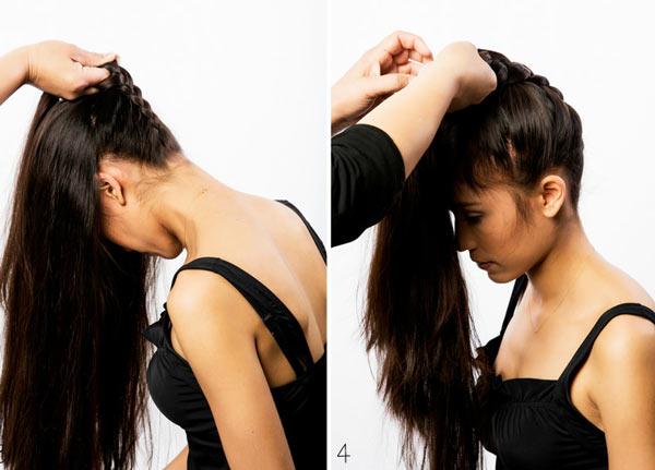 как сделать пучок с косой сзади