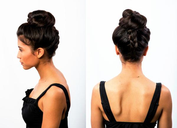 как сделать пучок с косой-колоском сзади