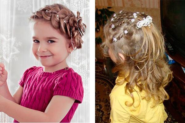 Праздничные прически девочке на средние волосы фото