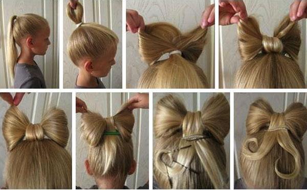 детский бант из волос