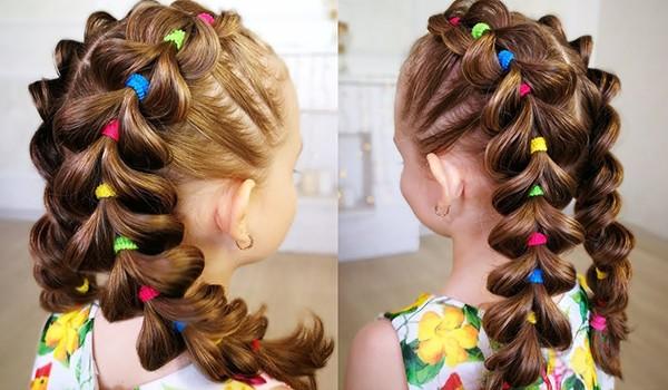 Французские косы с резинками