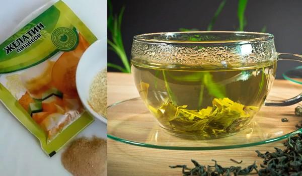 Зеленый чай и желатин