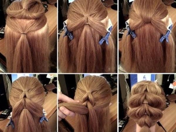 Коса французская с резинками