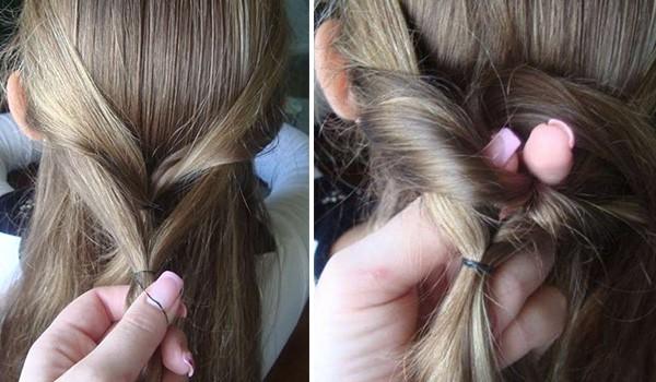 Коса из резинок без плетения