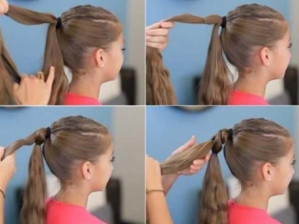 Коса на хвосте из двух прядей