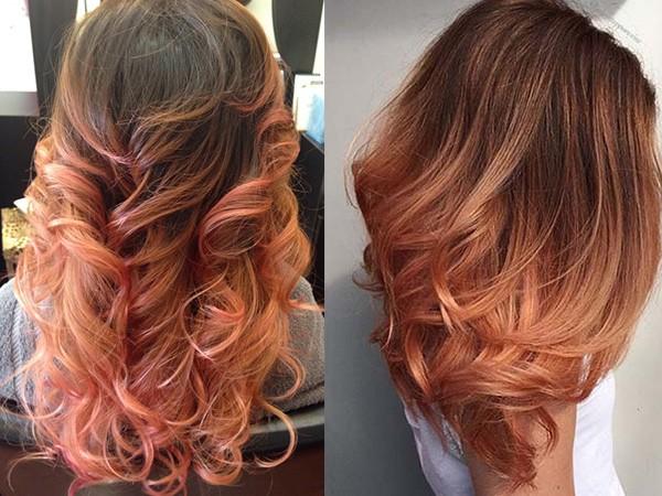 Кончики волос персиковые