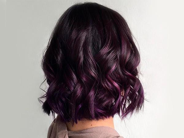 Волосы коричнево-фиолетовые