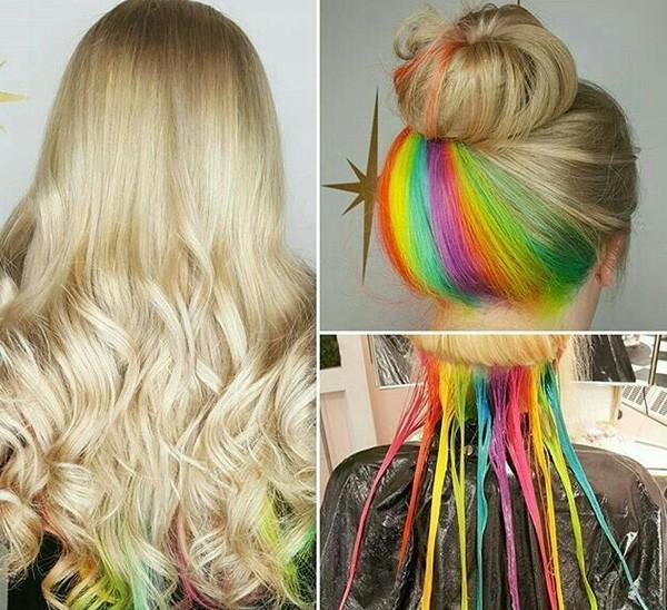 Радужное окрашивание для блондинок