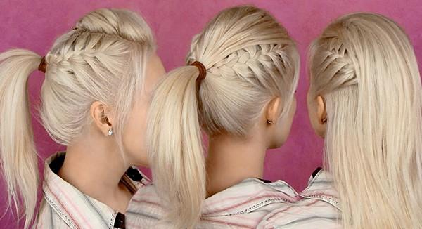 Хвост с косами на висках