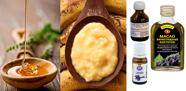 Бананы, мед, масло