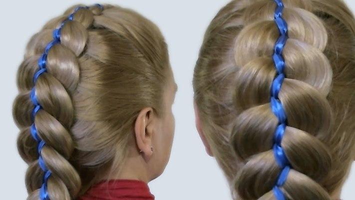 коса 5 прядей с лентой