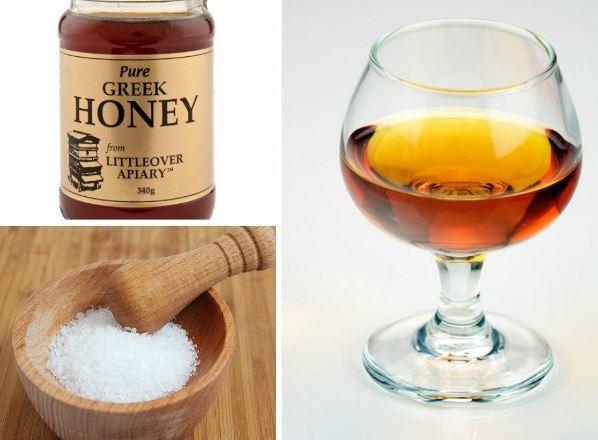 маска солью, коньяком и медом