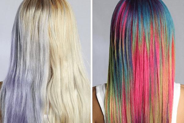 цветное мелирование на длинные волосы