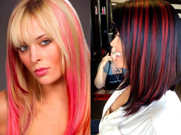 Цветное мелирование на прямые волосы