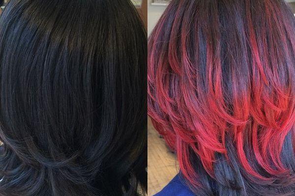 цветное мелирование на средние волосы