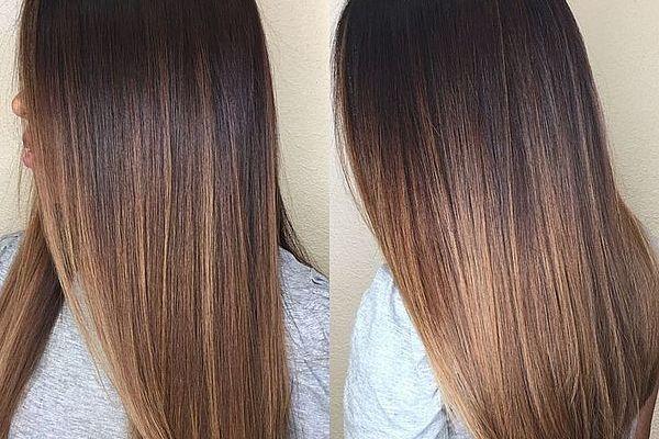 Переход цвета на каштановых волосах
