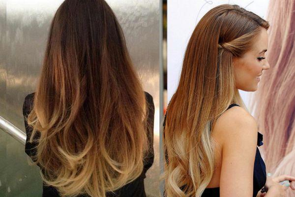 Переход цвета на русых волосах
